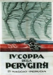 Vintage Italian car advertisment poster - IV Coppa della Perugina,